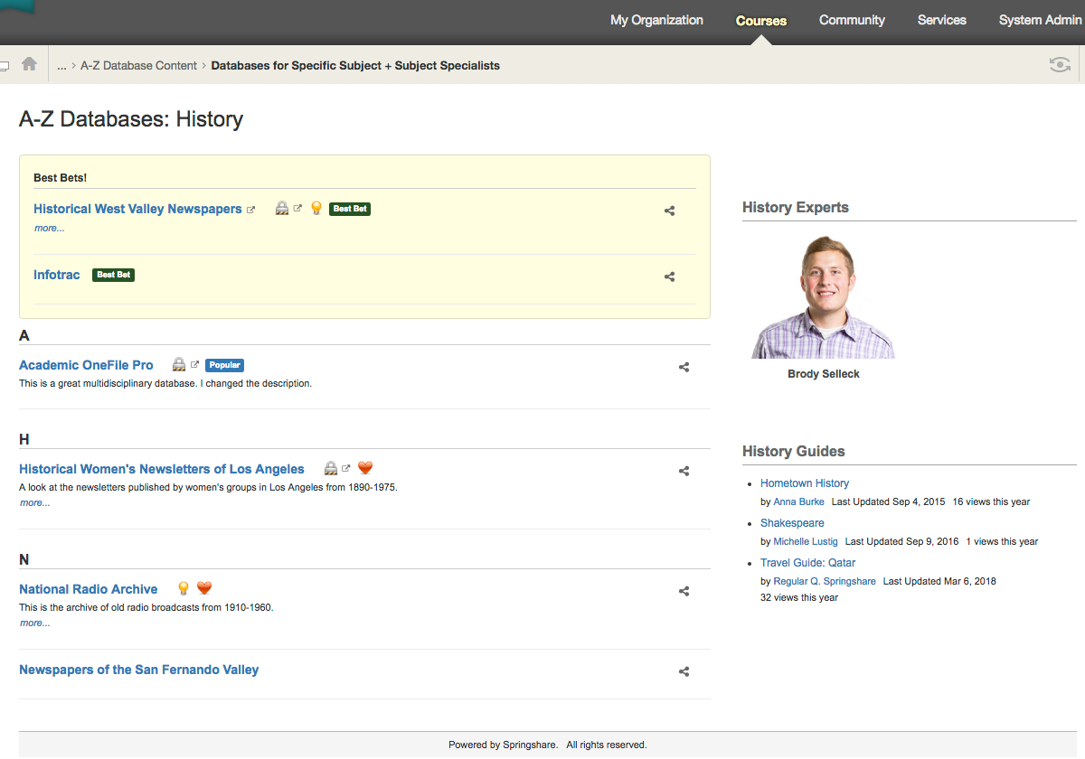 See how the subject + subject specialist option displays in Blackboard.