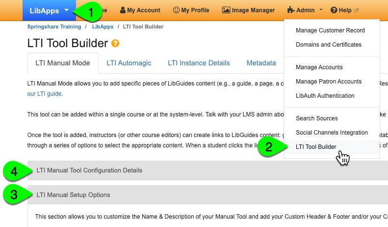 LTI Tool Builder > Manual Mode configuration / setup screen