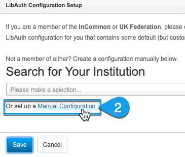 Clicking to set up a manual configuration