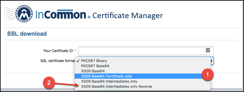 Example of download InCommon certificates