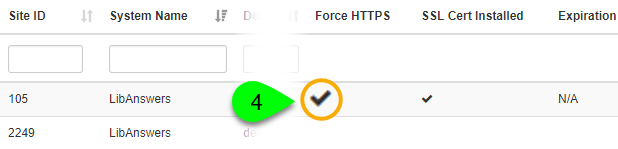 Screenshot of a site with Force HTTPS checked