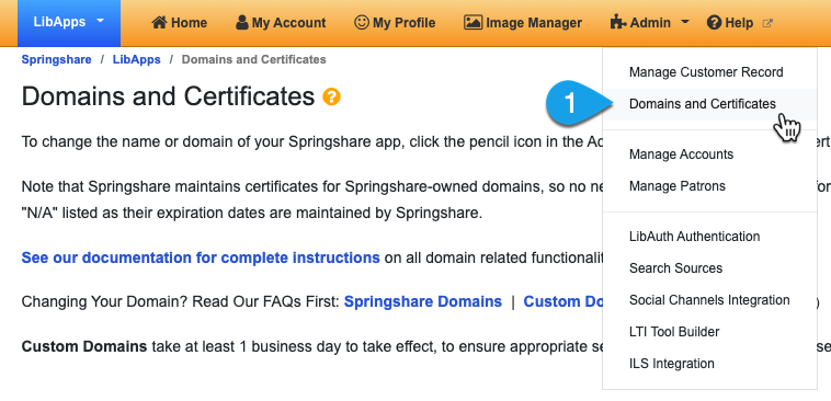 Navigating to the Domains and Certificates page
