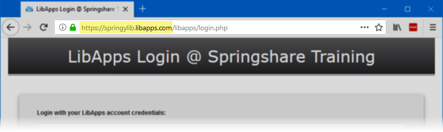 Finding the LibApps URL from the LibApps login page