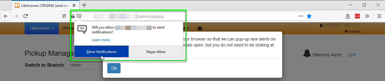 Firefox notification prompt