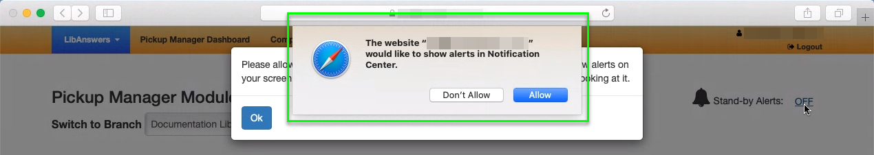 Safari notification prompt