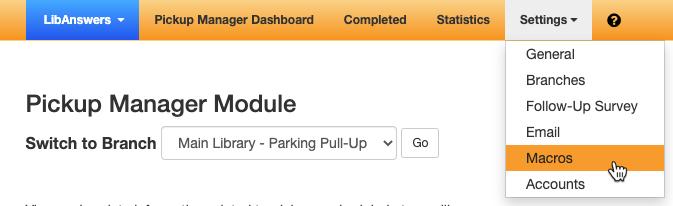 the Macros option under the Settings menu