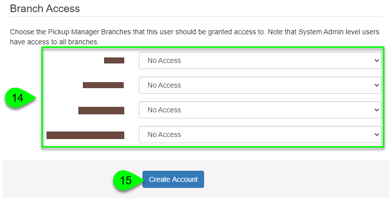 the Branch Access fields