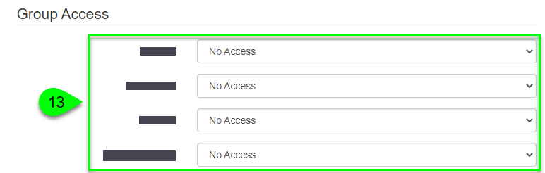 the Group Access fields