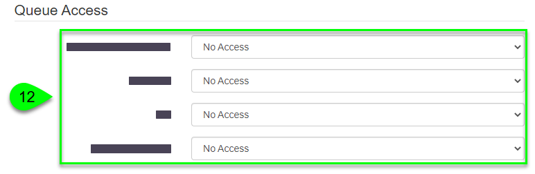 the Queue Access dropdowns