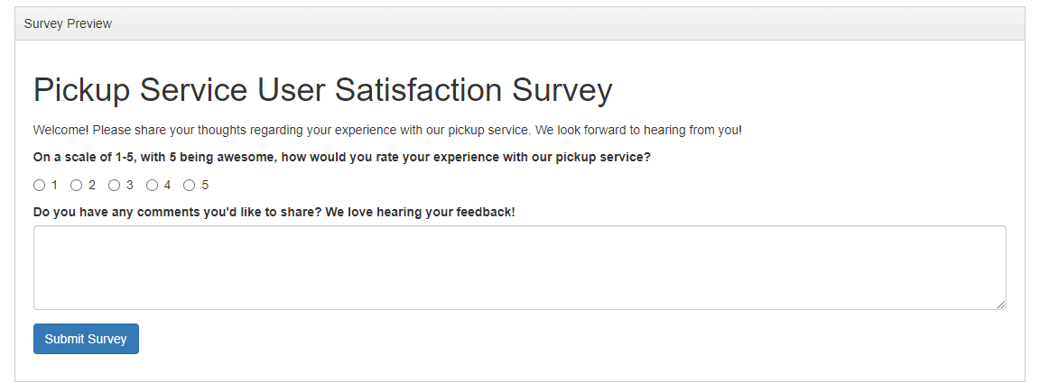 the Survey Preview panel