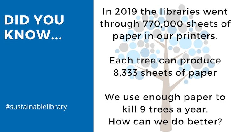 library paper use is 777000 sheets per year, enough to kill 9 tree. how can we do better/