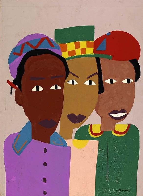 three figures bright colors