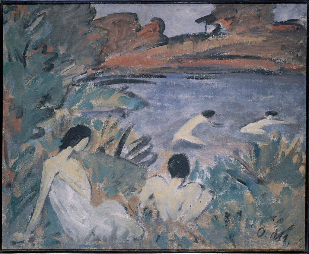 painting of figures in a landscape