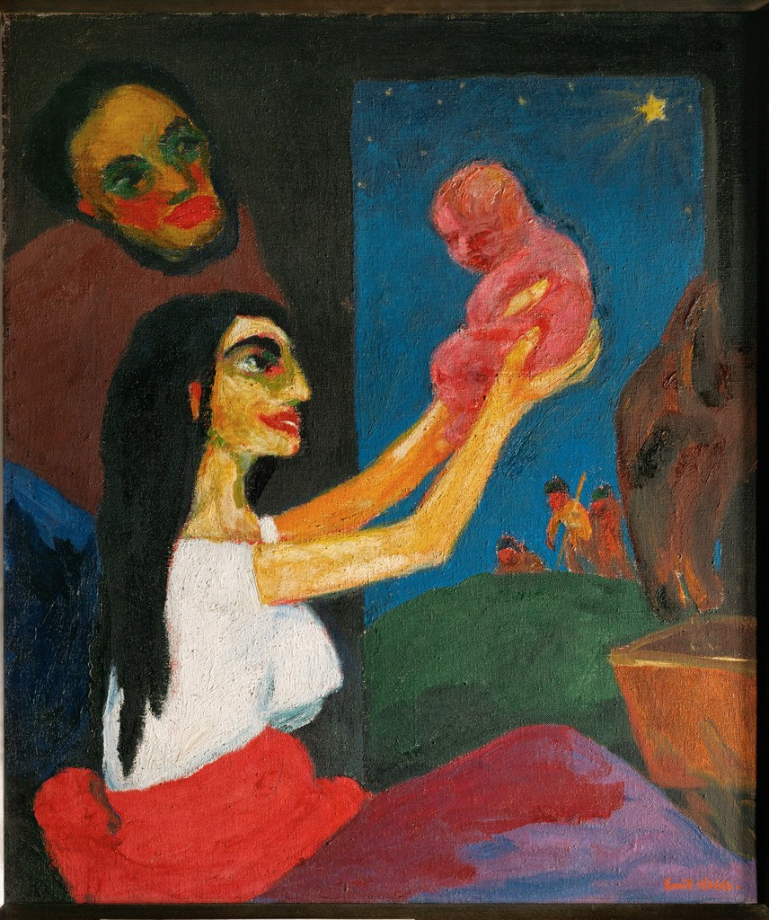 bright colored shapes figure with infant
