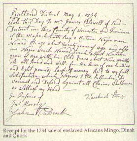 Receipt for 1734 sale enslaved Africans