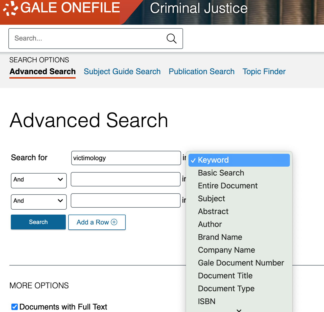 criminal justice collection advanced search page with dropdown