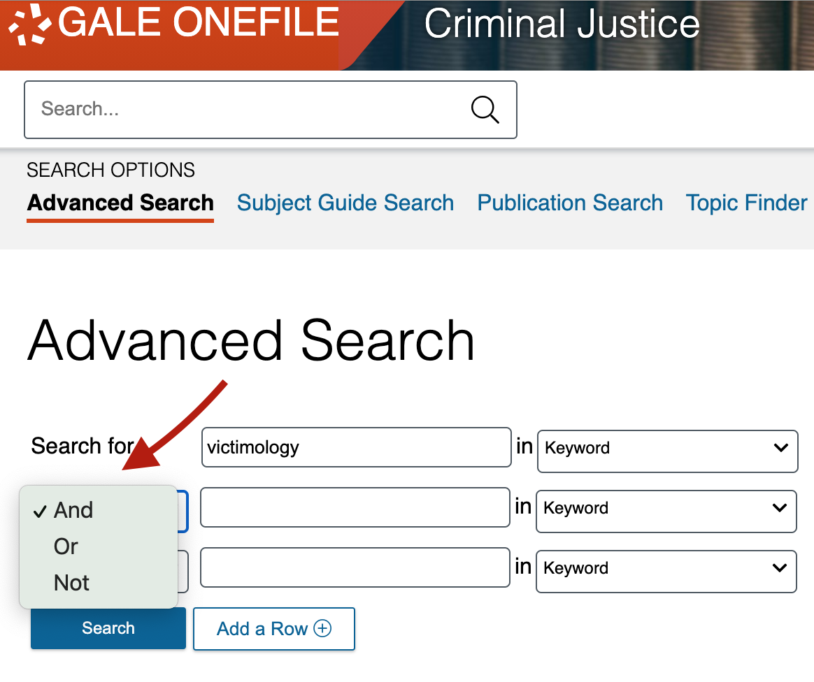 operator dropdown in criminal justice collection search page