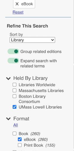 library search filter screen