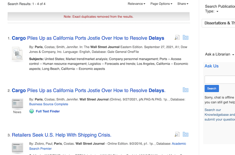 results page for WSJ search