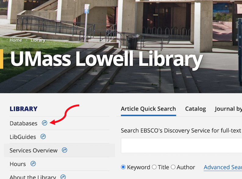 library homepage with red arrow pointing at databases tab