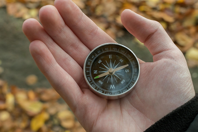 palm of hand with compass