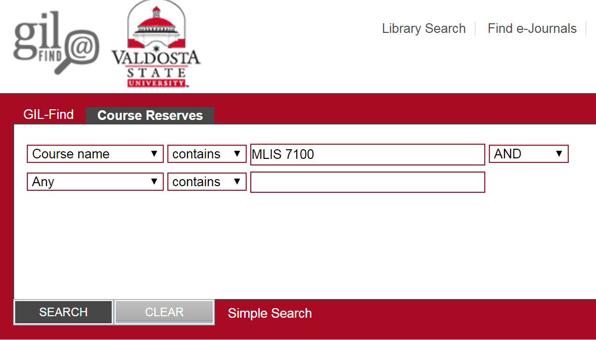 Course Reserves Advanced Search with Course name selected from drop-down menu and MLIS 7100 entered in search field