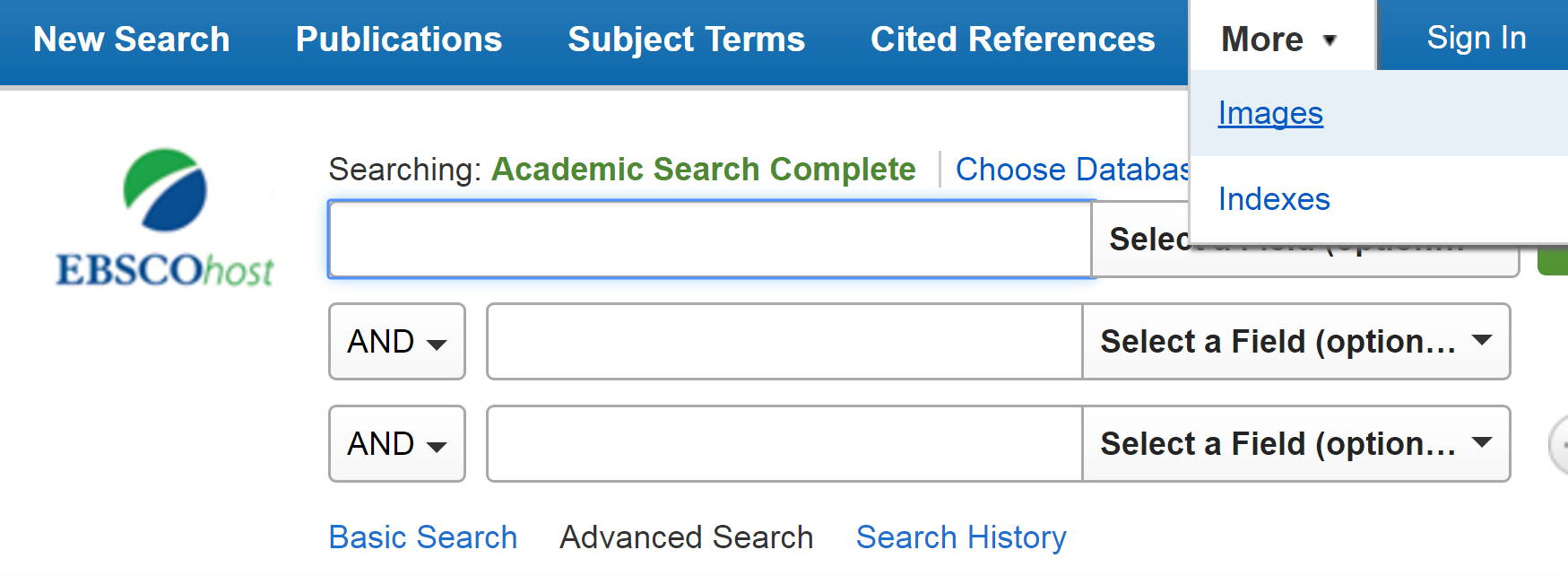 To search for images in Academic Search complete, click more at the top of the page and select Images from the drop down menu