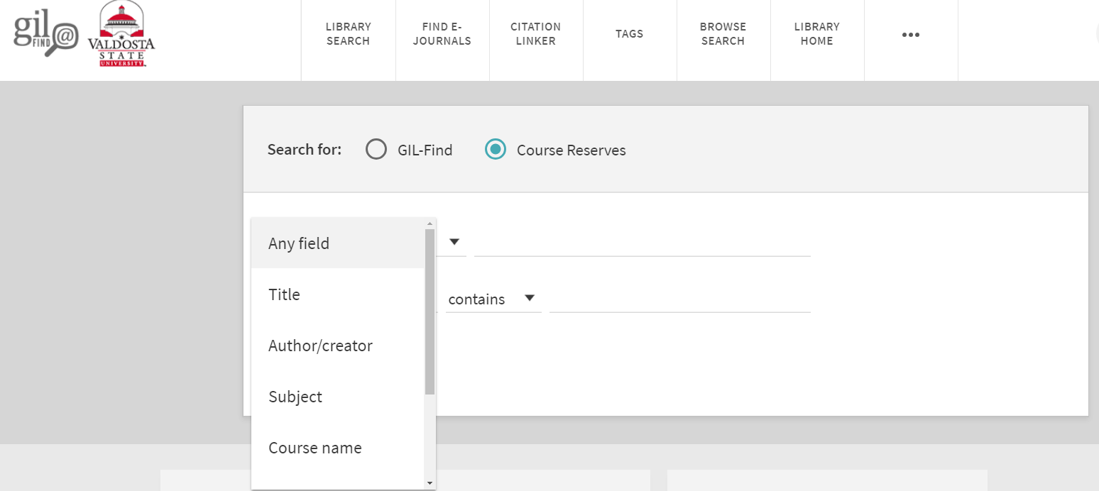 Course Reserves Advanced Search with drop down menu with the choices of in the title, as author/creator, in subject, Course Name, Course Instructor, Course ID, Course Department