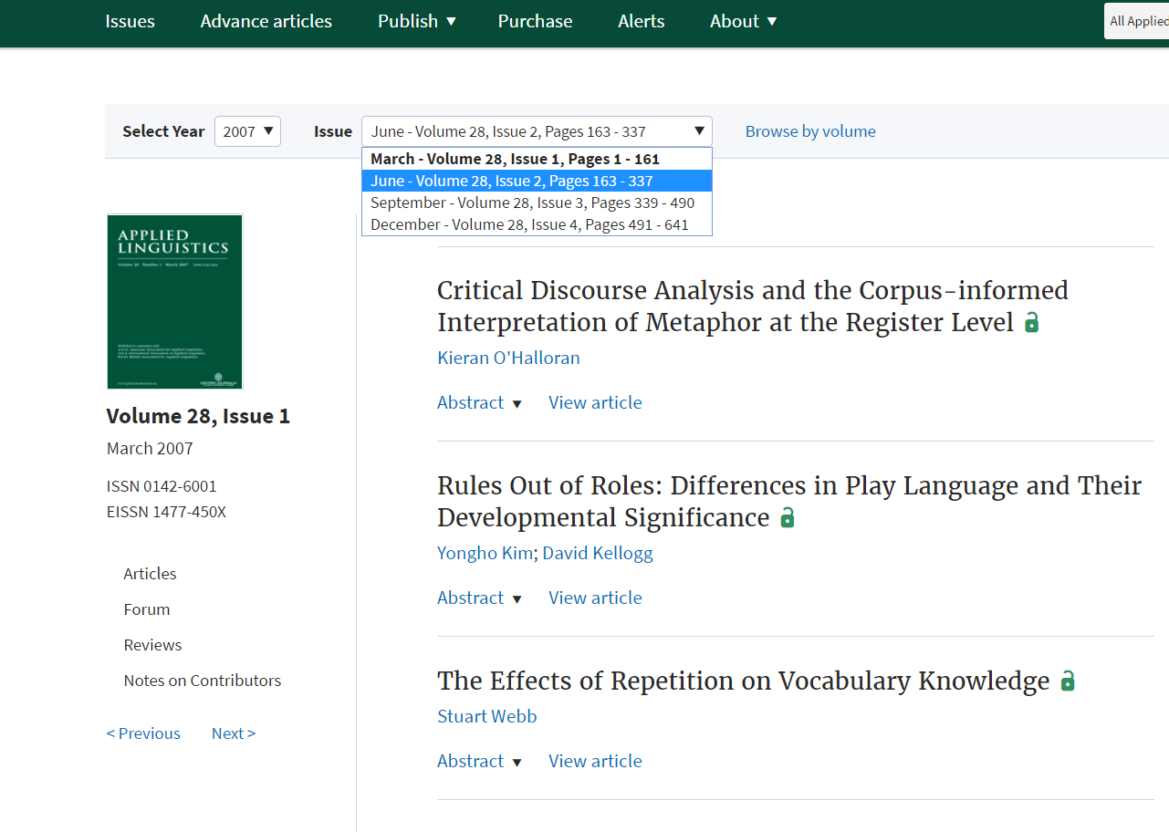 Applied Linguistics journal page. The year 2007 has been selected from a drop down menu at the top. The second issue has been highlighted from a second drop down menu.