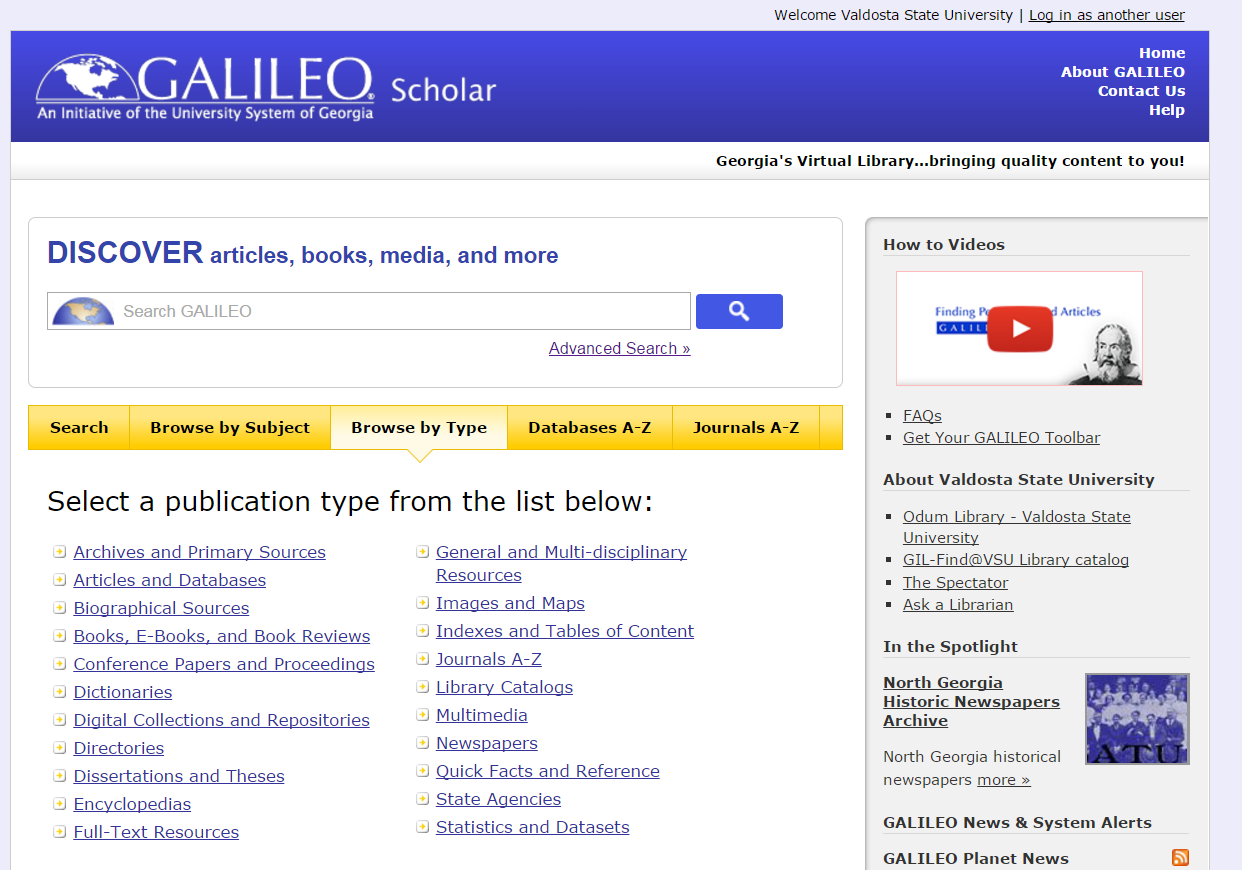Discover GALILEO Home page Tab Browse By Type has been clicked on