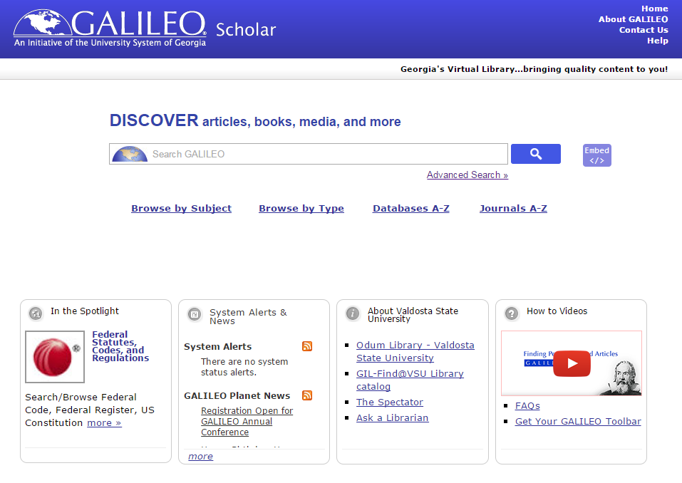 Discover GALILEO search box