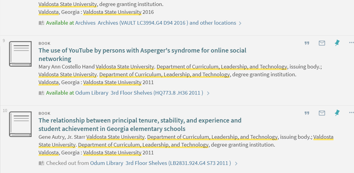 Screenshot of GIL-Find results for a search for dissertations The call number and location are listed after Available At