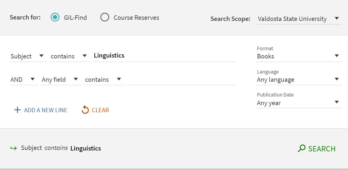 Screenshot of Advanced Search in GIL-Find. One drop down box says in subject. The corresponding search field says Linguistics. Books has been selected from the Format drop-down menu.