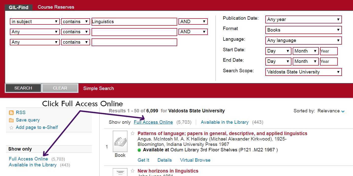 Screenshot of search results in GIL-Find. Two arrows point to Full Access Online, an option immediately above the search results and to the left of the search results.