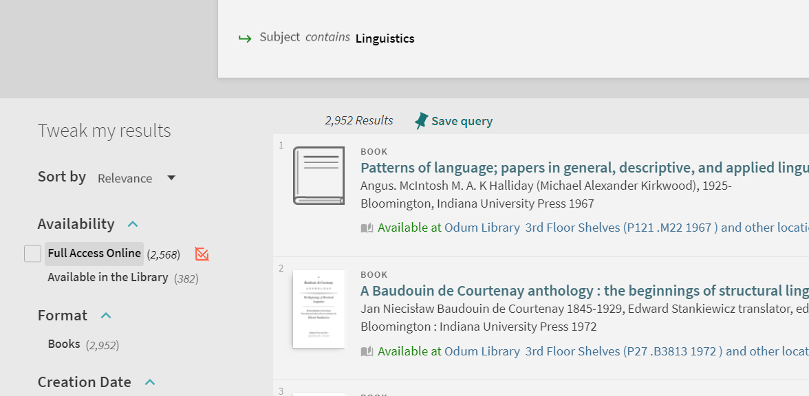 Screenshot of search results in GIL-Find. Under availability, select Full Access online.