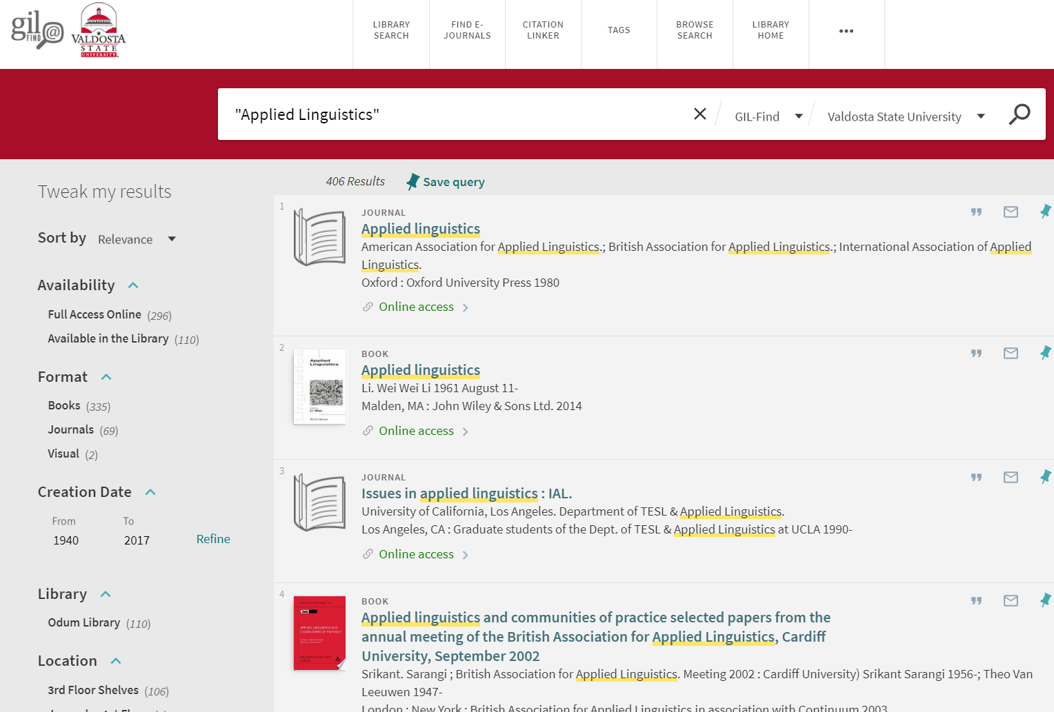 """Searching """"Applied Linguistics"""" in the GIL-Find library catalog."""