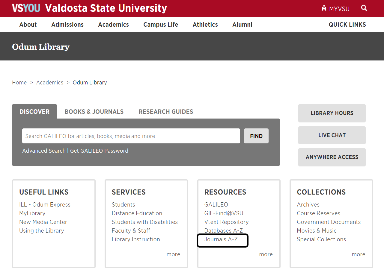 Screenshot of Library Homepage with Journals A to Z, the fifth option under Resources, circled in black.