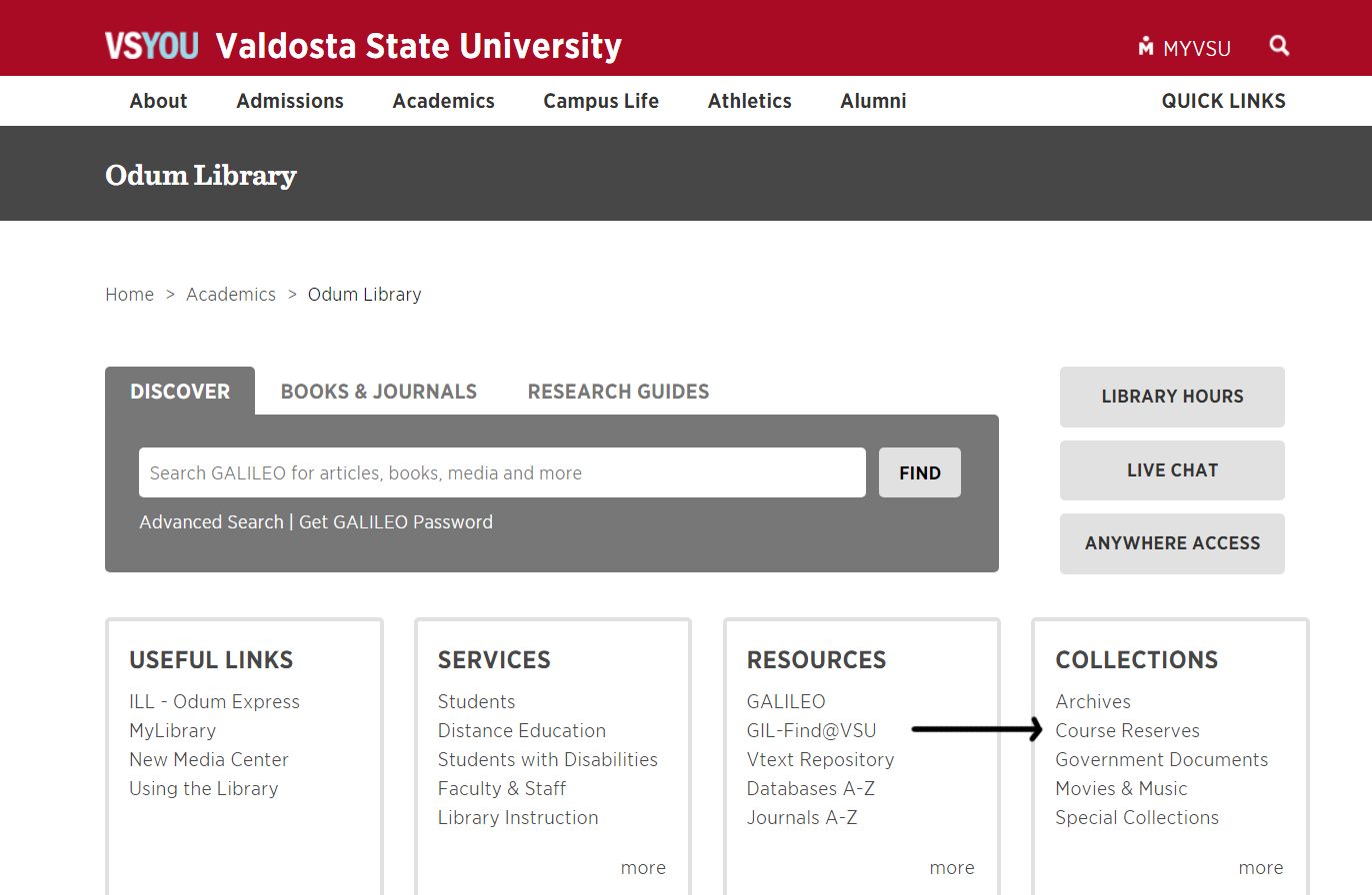 Library home page with an arrow pointing to Course Reserves in the Box Collections