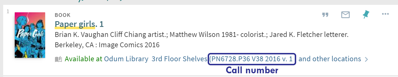 Screenshot of catalog record for Paper Girls. PN6728.P36 V38 2016 v. 1 is circled in purple and labeled with Call number.