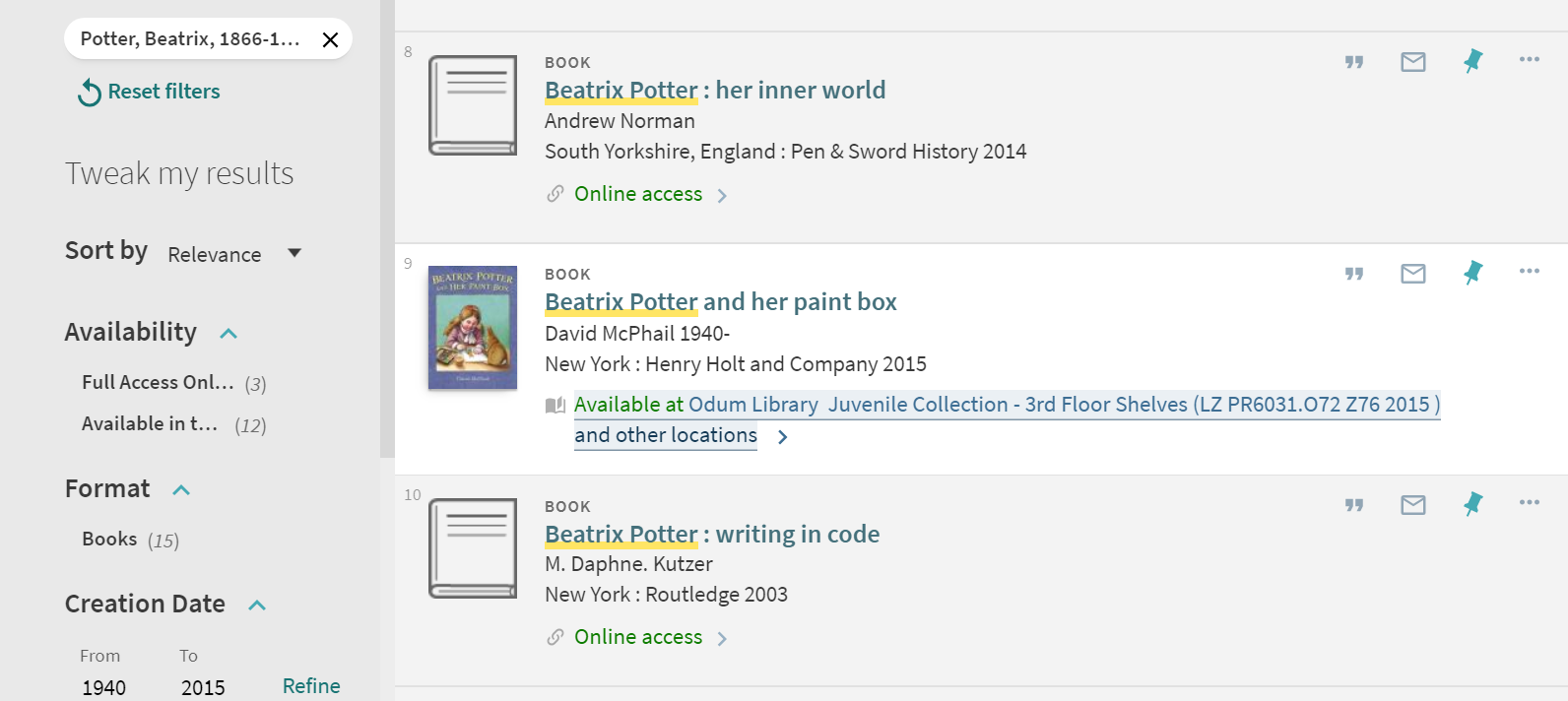 Search Results for Beatrix Potter showing Available and Online Access