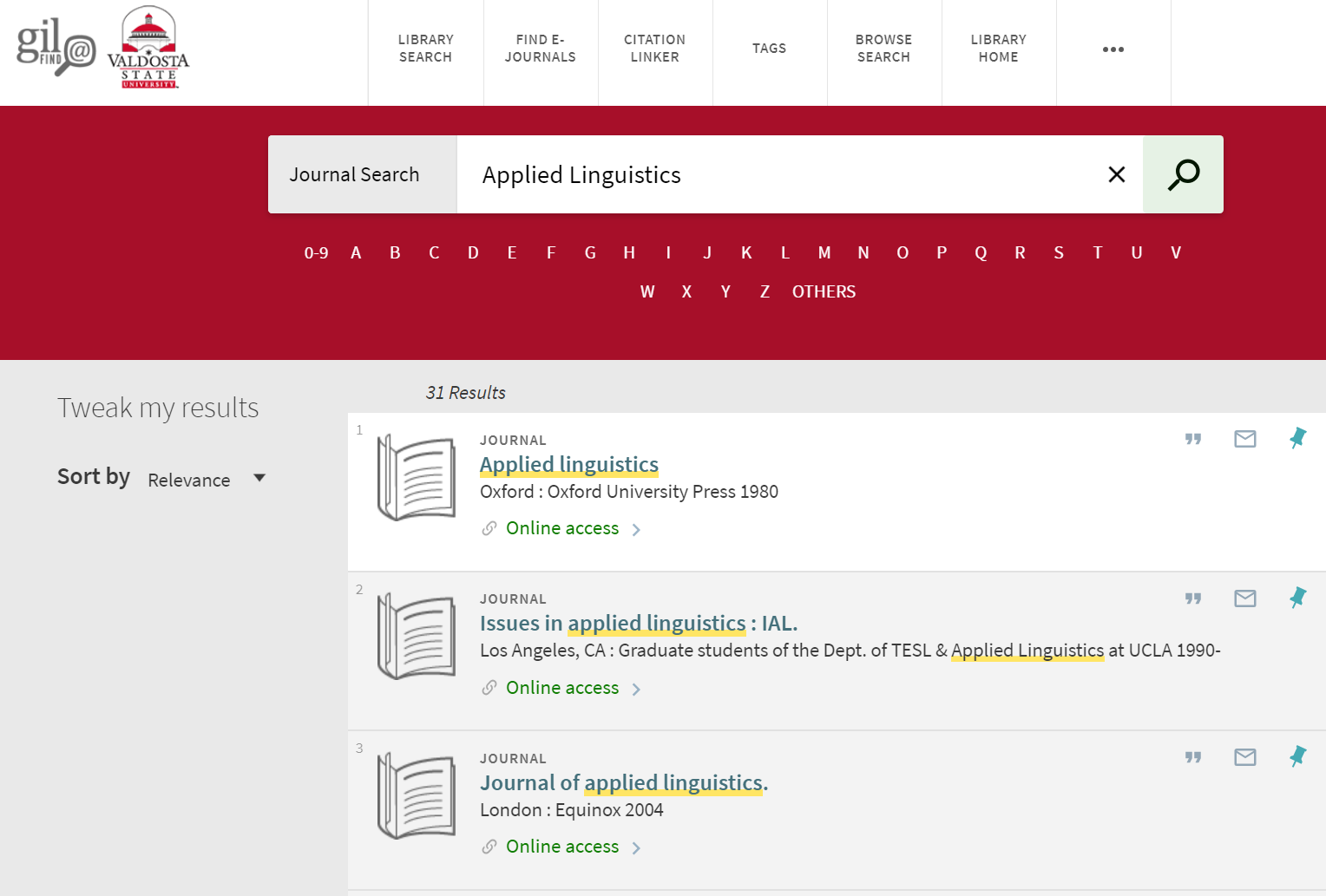 Screenshot of Searching Journals A-Z. Applied Linguistics is entered in search box