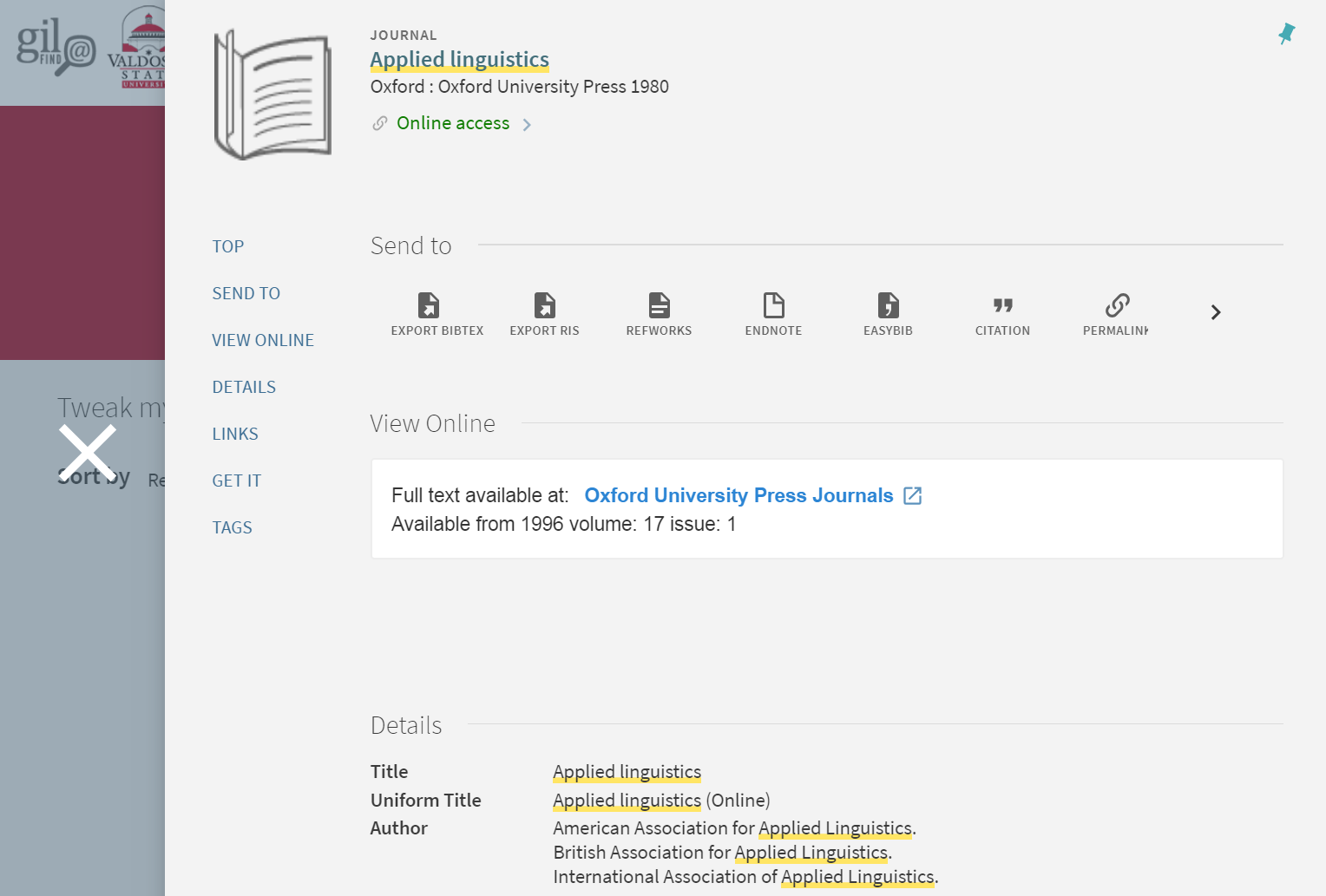 Applied Linguistics on Journals A to Z page. Clicking on Online Access expands to reveal more information about access and availability at Odum Library