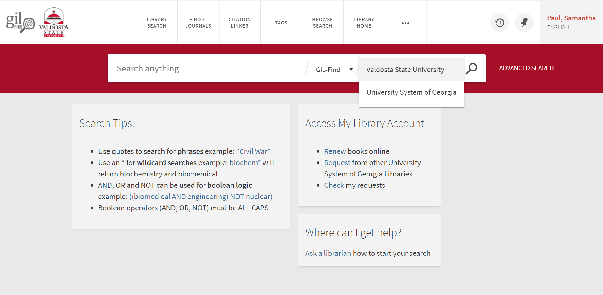 Screenshot of GIL-Find Search. The drop down menu has been clicked on giving options of Valdosta State University or University System of Georgia