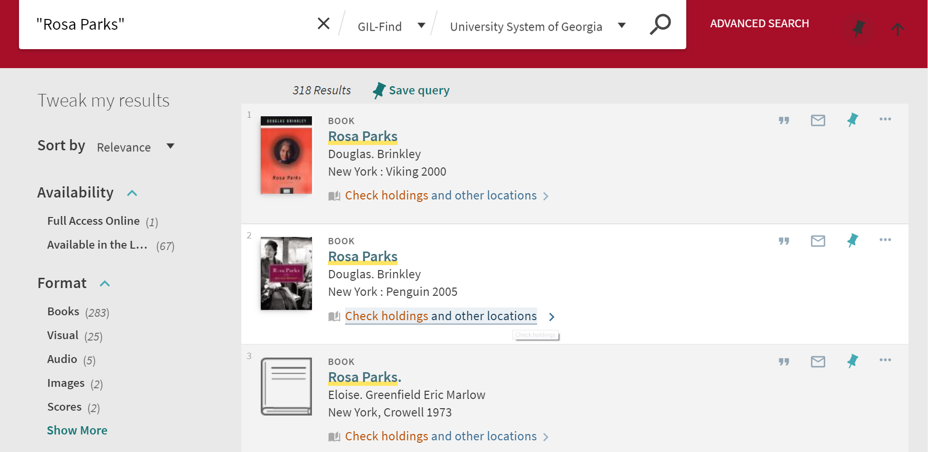 "Search results for ""Rosa Parks"" in the University System of Georgia. Check holdings and other locations is underlined in the second entry"