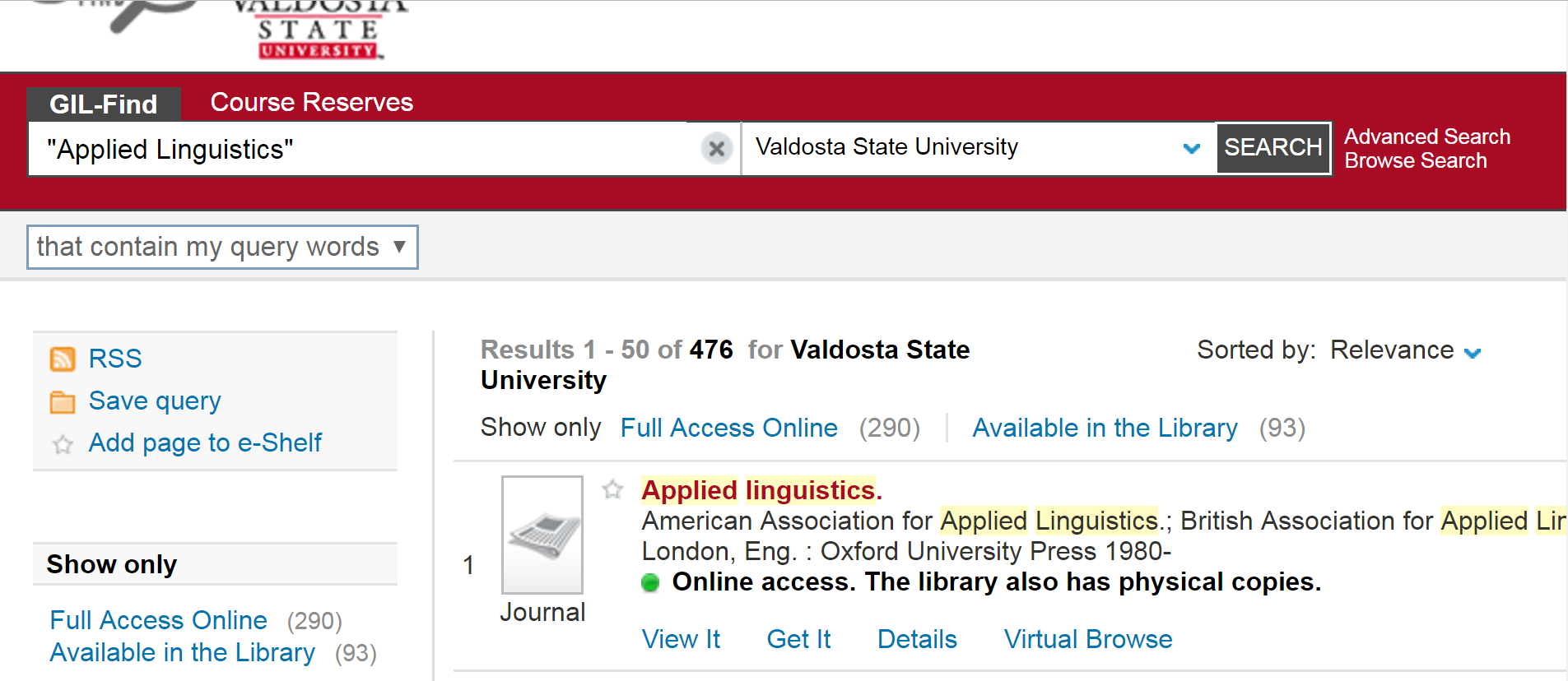 """Screenshot from GIL-Find showing results for a search for """"Applied Linguistics"""""""