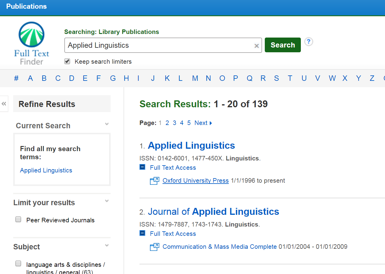 Results from search of Applied Linguistics.