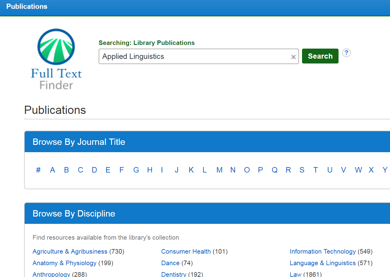 Screenshot of Searching Library Publications. Applied Linguistics is entered in search bar at the top.