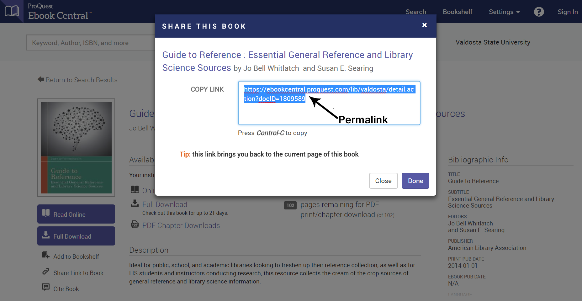 ProQuest Ebook Central platform - Share This Book window with URL within it. This would be the permalink.