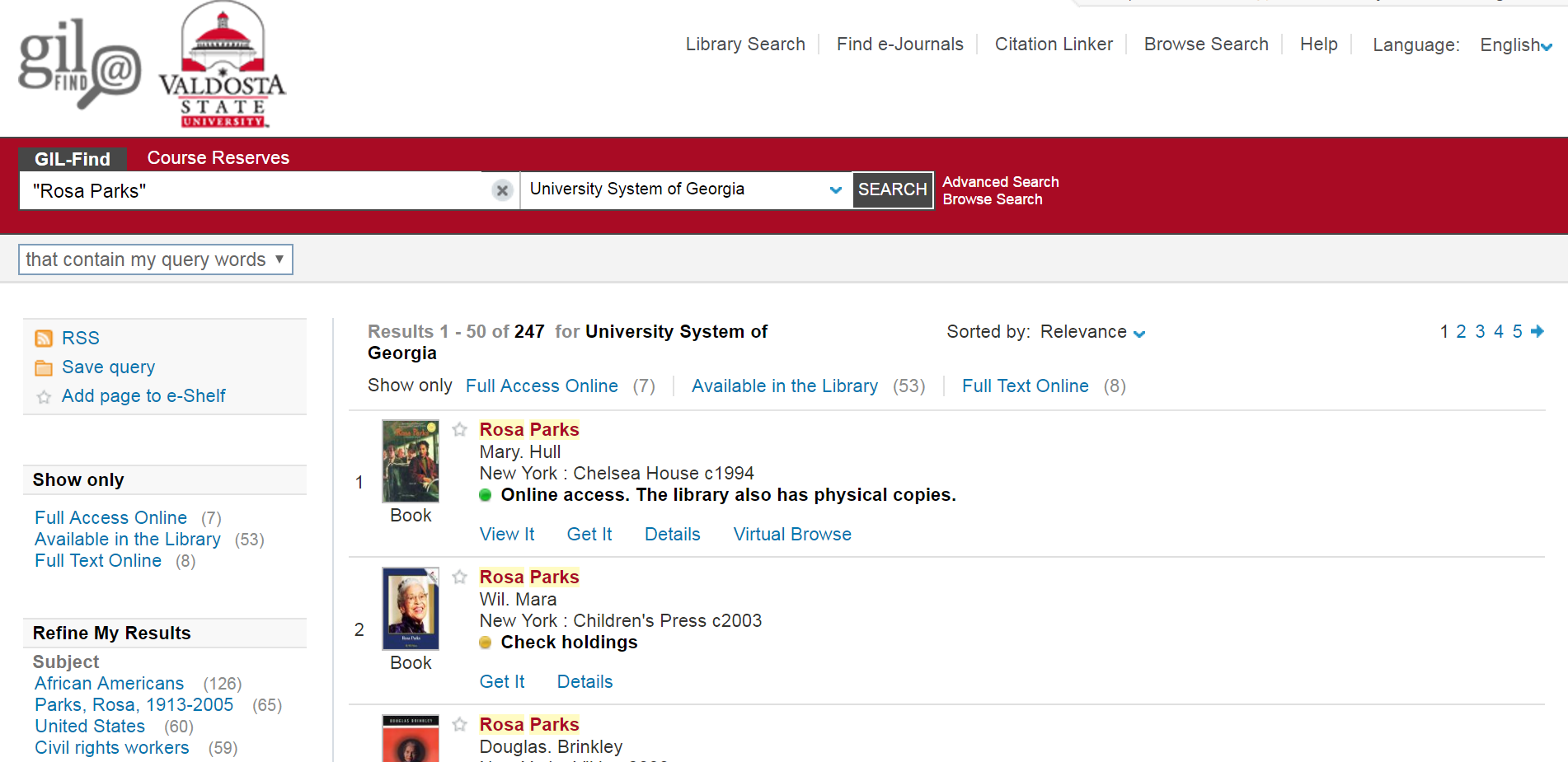 "Screenshot of ""Rosa Parks"" search results in the University System of Georgia"