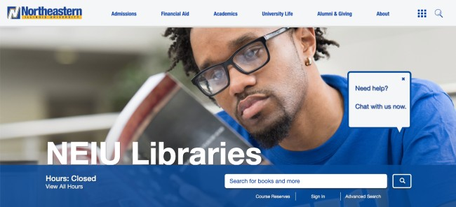 new NEIU Libraries website summer 2020